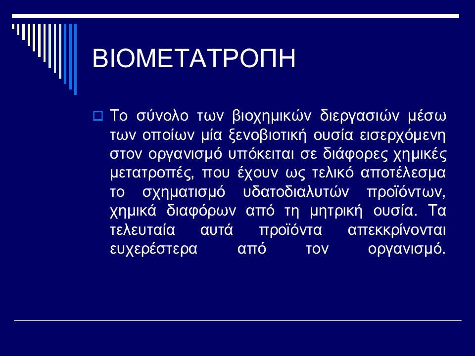 ΒΙΟΜΕΤΑΤΡΟΠΗ  Το σύνολο των βιοχημικών διεργασιών μέσω των οποίων μία ξενοβιοτική ουσία εισερχόμενη στον οργανισμό υπόκειται σε διάφορες χημικές μετα
