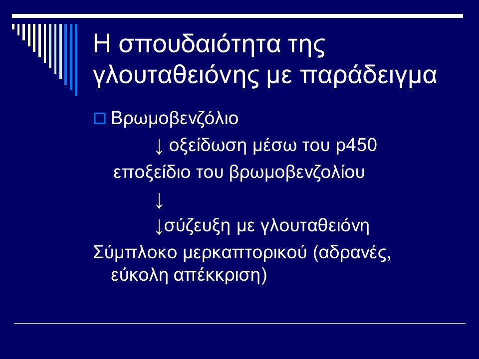 Η σπουδαιότητα της γλουταθειόνης με παράδειγμα  Βρωμοβενζόλιο ↓ οξείδωση μέσω του p450 εποξείδιο του βρωμοβενζολίου ↓ ↓σύζευξη με γλουταθειόνη Σύμπλο