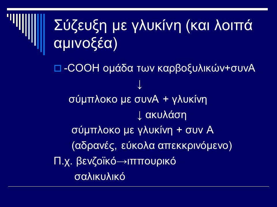 Σύζευξη με γλυκίνη (και λοιπά αμινοξέα)  -COOH ομάδα των καρβοξυλικών+συνΑ ↓ σύμπλοκο με συνΑ + γλυκίνη ↓ ακυλάση σύμπλοκο με γλυκίνη + συν Α (αδρανέ