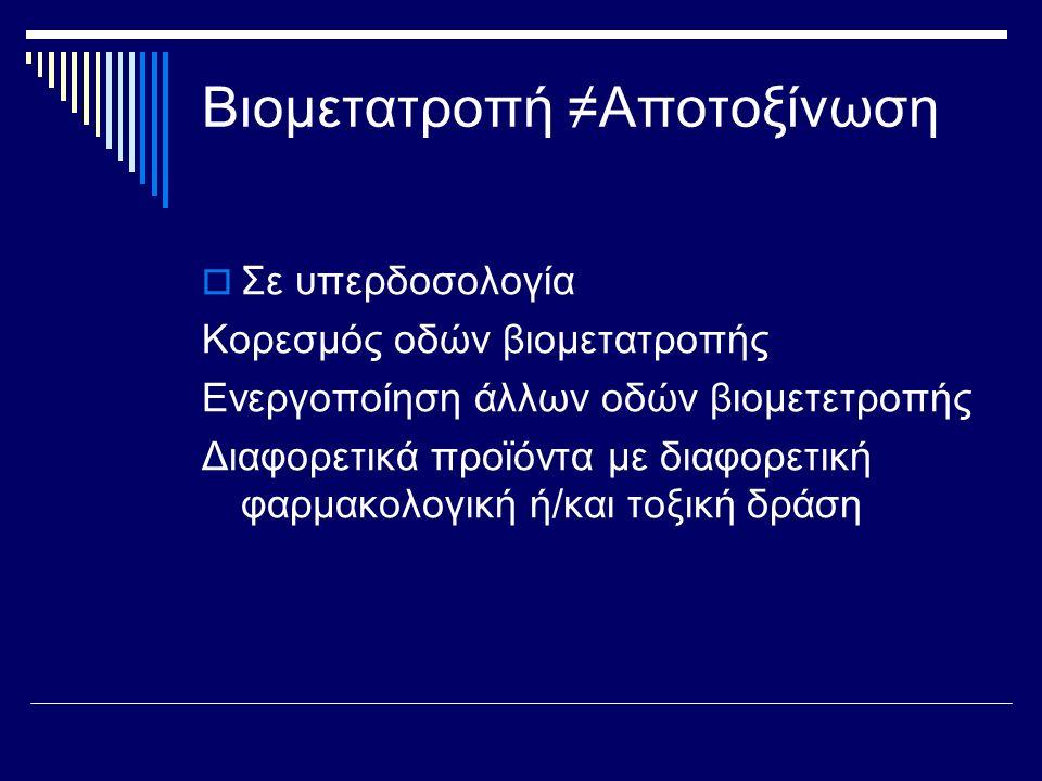 Η σπουδαιότητα της γλουταθειόνης με παράδειγμα  Βρωμοβενζόλιο ↓ οξείδωση μέσω του p450 εποξείδιο του βρωμοβενζολίου ↓ ↓σύζευξη με γλουταθειόνη Σύμπλοκο μερκαπτορικού (αδρανές, εύκολη απέκκριση)