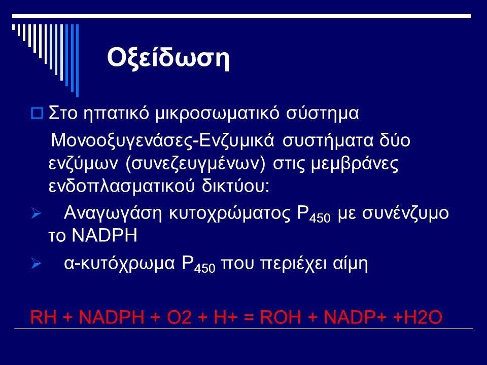 Οξείδωση  Στο ηπατικό μικροσωματικό σύστημα Μονοοξυγενάσες-Ενζυμικά συστήματα δύο ενζύμων (συνεζευγμένων) στις μεμβράνες ενδοπλασματικού δικτύου:  Αναγωγάση κυτοχρώματος P 450 με συνένζυμο το NADPH  α-κυτόχρωμα P 450 που περιέχει αίμη RH + NADPH + O2 + H+ = ROH + NADP+ +H2O