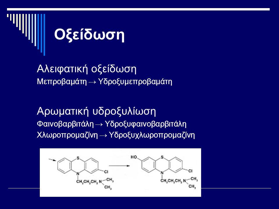 Οξείδωση Αλειφατική οξείδωση Μεπροβαμάτη → Υδροξυμεπροβαμάτη Αρωματική υδροξυλίωση Φαινοβαρβιτάλη → Υδροξυφαινοβαρβιτάλη Χλωροπρομαζίνη → Υδροξυχλωροπρομαζίνη