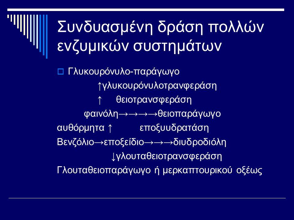Συνδυασμένη δράση πολλών ενζυμικών συστημάτων  Γλυκουρόνυλο-παράγωγο ↑γλυκουρόνυλοτρανφεράση ↑ θειοτρανσφεράση φαινόλη→→→→θειοπαράγωγο αυθόρμητα ↑ εποξυυδρατάση Βενζόλιο→εποξείδιο→→→διυδροδιόλη ↓γλουταθειοτρανσφεράση Γλουταθειοπαράγωγο ή μερκαπτουρικού οξέως