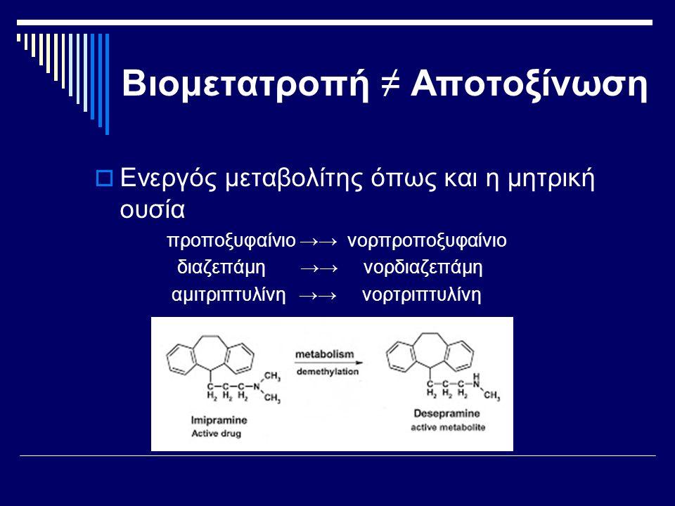 Βιομετατροπή ≠ Αποτοξίνωση  Ενεργός μεταβολίτης όπως και η μητρική ουσία προποξυφαίνιο →→ νορπροποξυφαίνιο διαζεπάμη →→ νορδιαζεπάμη αμιτριπτυλίνη →→ νορτριπτυλίνη