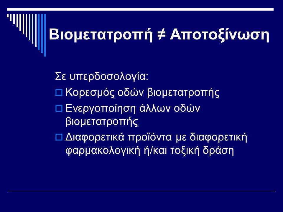 Σε υπερδοσολογία:  Κορεσμός οδών βιομετατροπής  Ενεργοποίηση άλλων οδών βιομετατροπής  Διαφορετικά προϊόντα με διαφορετική φαρμακολογική ή/και τοξι