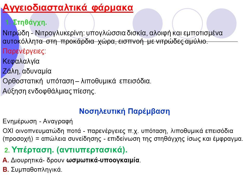 Αγγειοδιασταλτικά φάρμακα 1. Στηθάγχη. Νιτρώδη - Νιτρογλυκερίνη: υπογλώσσια δισκία, αλοιφή και εμποτισμένα αυτοκόλλητα στη προκάρδια χώρα, εισπνοή με