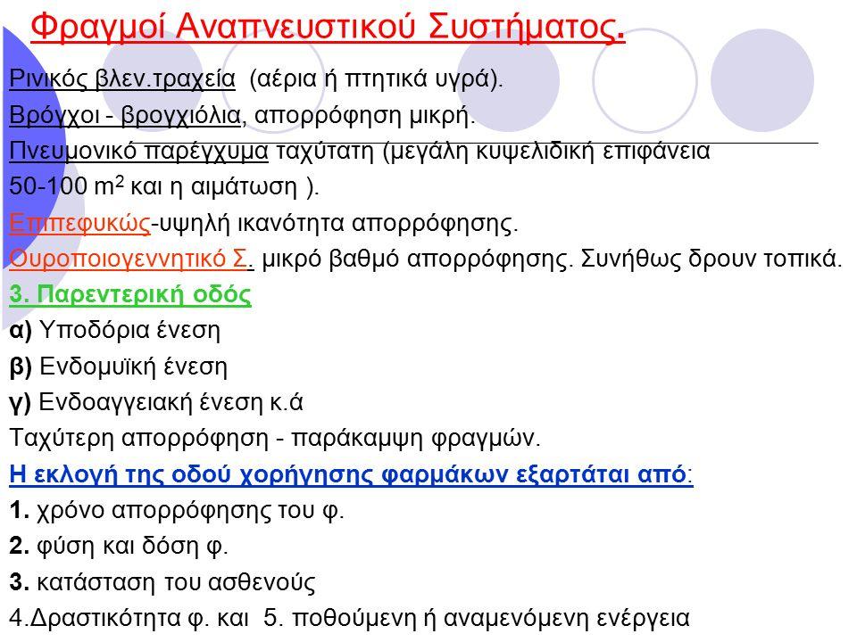 Φραγμοί Αναπνευστικού Συστήματος. Ρινικός βλεν.τραχεία (αέρια ή πτητικά υγρά). Βρόγχοι - βρογχιόλια, απορρόφηση μικρή. Πνευμονικό παρέγχυμα ταχύτατη (