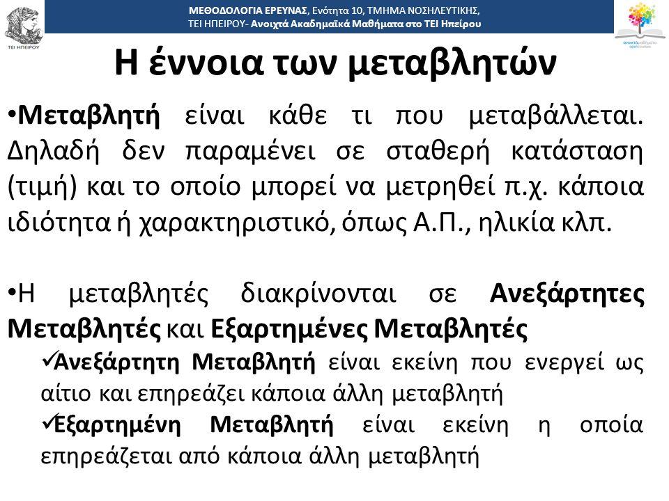 1616 -,, ΤΕΙ ΗΠΕΙΡΟΥ - Ανοιχτά Ακαδημαϊκά Μαθήματα στο ΤΕΙ Ηπείρου Η έννοια των μεταβλητών ΜΕΘΟΔΟΛΟΓΙΑ ΕΡΕΥΝΑΣ, Ενότητα 10, ΤΜΗΜΑ ΝΟΣΗΛΕΥΤΙΚΗΣ, ΤΕΙ ΗΠ