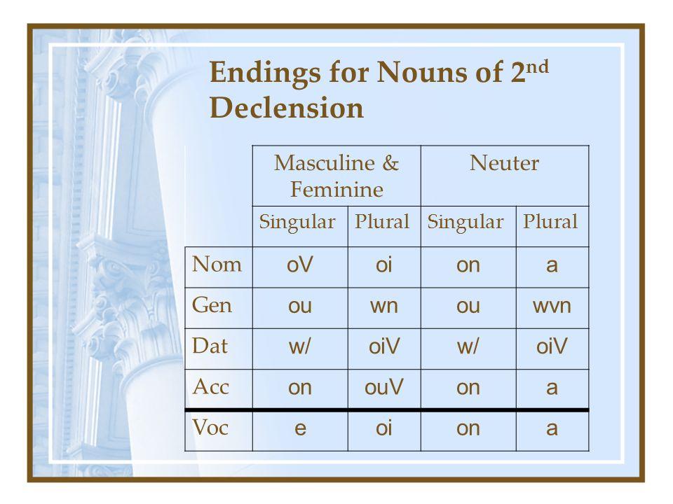 Endings for Nouns of 2 nd Declension Masculine & Feminine Neuter SingularPluralSingularPlural Nom oVoiona Gen ouwnouwvn Dat w/oiVw/oiV Acc onouVona Voc eoiona