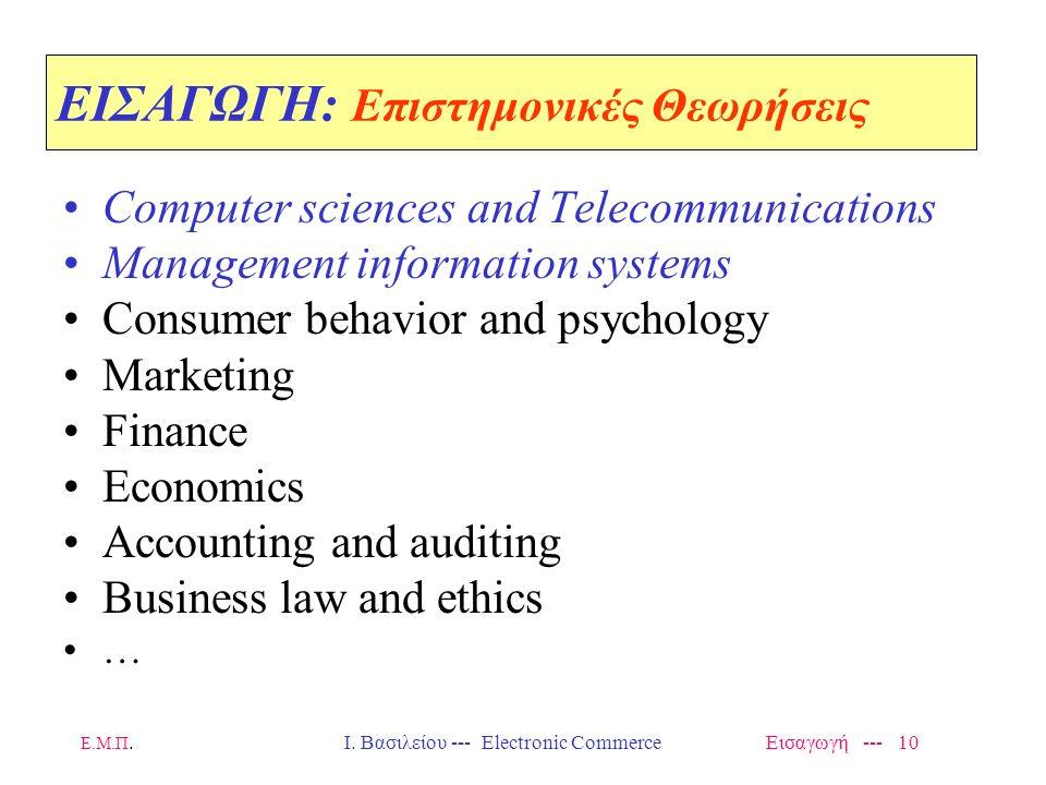Ε.Μ.Π. Ι. Βασιλείου --- Electronic Commerce Εισαγωγή --- 9 ΕΙΣΑΓΩΓΗ: Διαφορετικές Οπτικές Θεωρήσεις Electronic Commerce is defined from these perspect