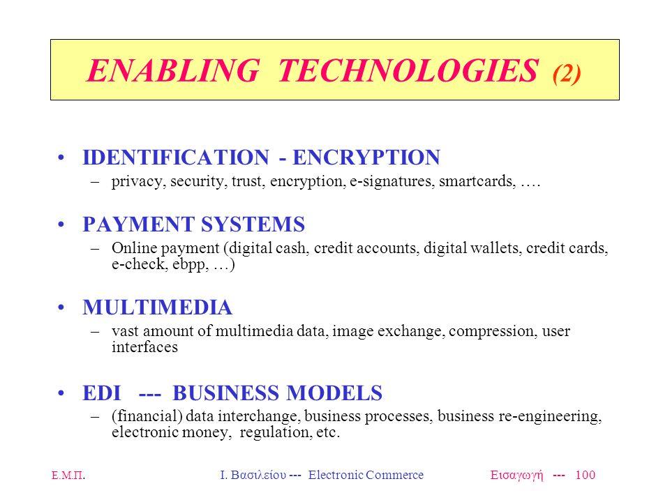 Ε.Μ.Π. Ι. Βασιλείου --- Electronic Commerce Εισαγωγή --- 99 ENABLING TECHNOLOGIES NETWORKING TECHNOLOGIES –high performance, interoperability, protoco