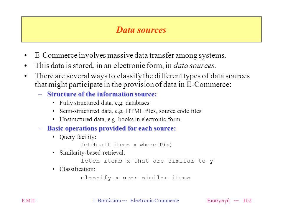 Ε.Μ.Π. Ι. Βασιλείου --- Electronic Commerce Εισαγωγή --- 101 SHARED DATABASES –distributed - autonomous and heterogeneous information sources, web dat