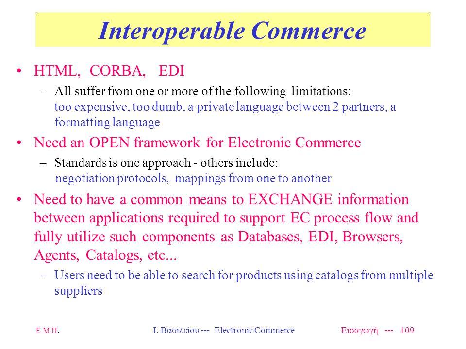 Ε.Μ.Π. Ι. Βασιλείου --- Electronic Commerce Εισαγωγή --- 108 E-catalogs -- Functional Features Content –SCOPE: products, services, pricing info, detai