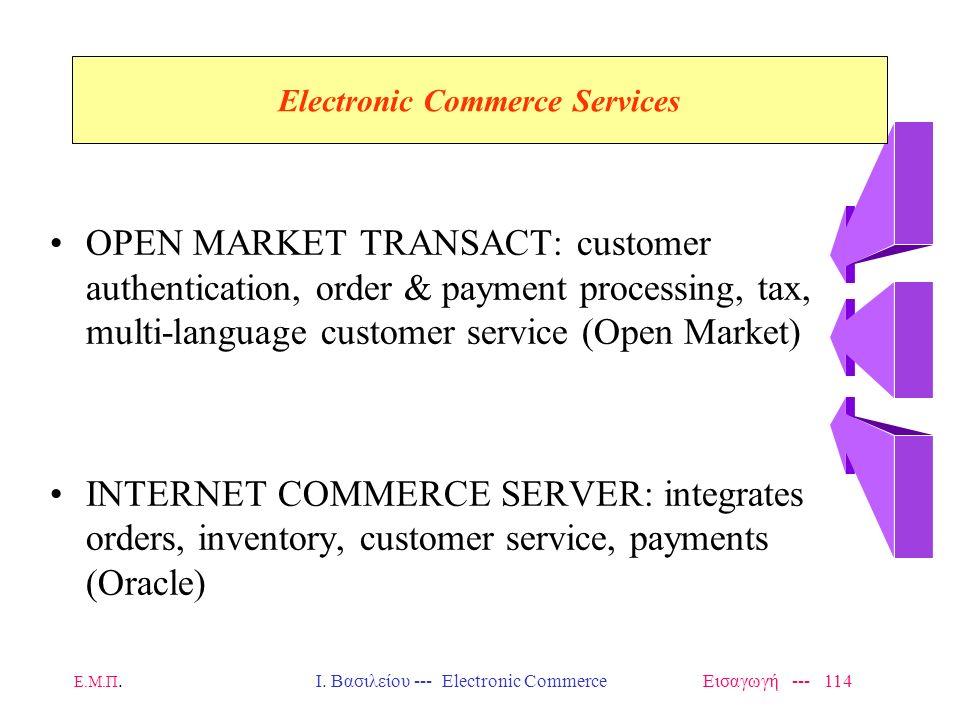 Ε.Μ.Π. Ι. Βασιλείου --- Electronic Commerce Εισαγωγή --- 113 ICAT: on-line catalog shopping, order placement (Icat) NET.COMMERCE: merchant server supp