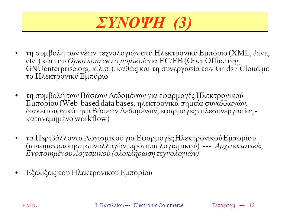 Ε.Μ.Π. Ι. Βασιλείου --- Electronic Commerce Εισαγωγή --- 12 τα θέματα ασφάλειας και προστασίας των πληροφοριών (μηχανισμοί πρόσβασης και πιστοποίησης,