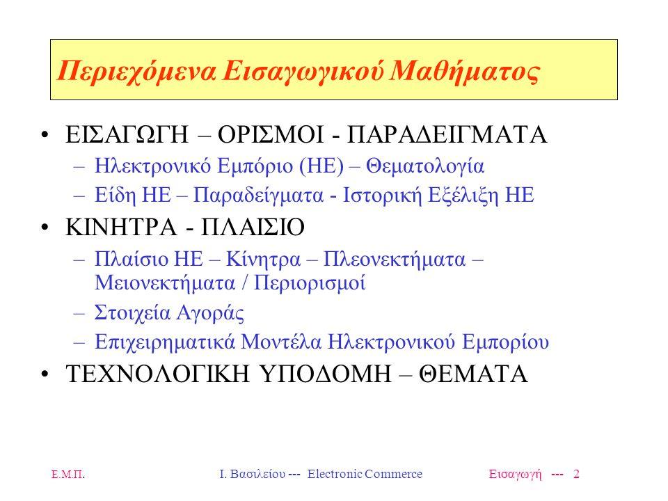 Ε.Μ.Π. Ι. Βασιλείου --- Electronic Commerce Εισαγωγή --- 1 Εθνικό Μετσόβιο Πολυτεχνείο Μεταπτυχιακό Τμήματος ΗΜ & ΜΥ (Άνοιξη - 2014) Δίκτυα Προστιθέμε