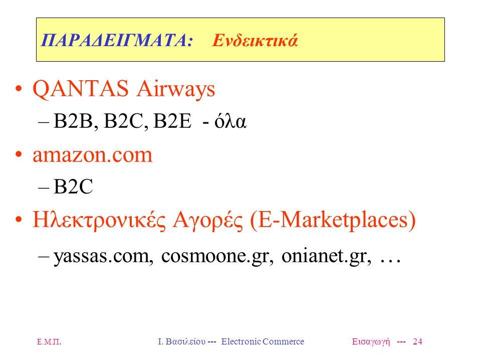 Ε.Μ.Π. Ι. Βασιλείου --- Electronic Commerce Εισαγωγή --- 23 ΕΙΣΑΓΩΓΗ: Στοιχεία Ολοκλήρωσης Ηλεκτρονικού Εμπορίου ElementINTERNETEXTRANETINTRANET E-Com