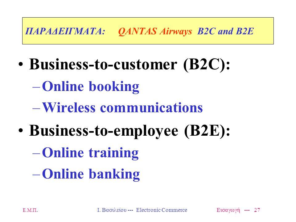 Ε.Μ.Π. Ι. Βασιλείου --- Electronic Commerce Εισαγωγή --- 26 ΠΑΡΑΔΕΙΓΜΑTA: QANTAS Airways B2B Business-to-business (B2B) –E-marketplace member: Joined
