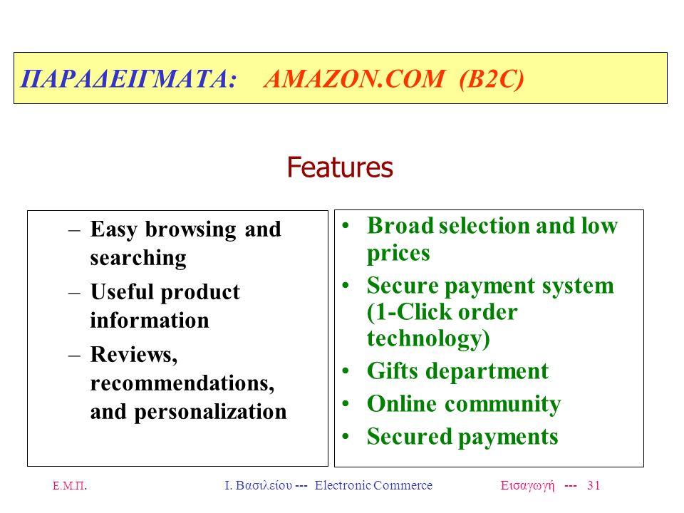 Ε.Μ.Π. Ι. Βασιλείου --- Electronic Commerce Εισαγωγή --- 30 ΠΑΡΑΔΕΙΓΜΑΤΑ: AMAZON.COM (Β2C) Started business in 1995 –Sales 1996 = $15.7 million (αλλά,