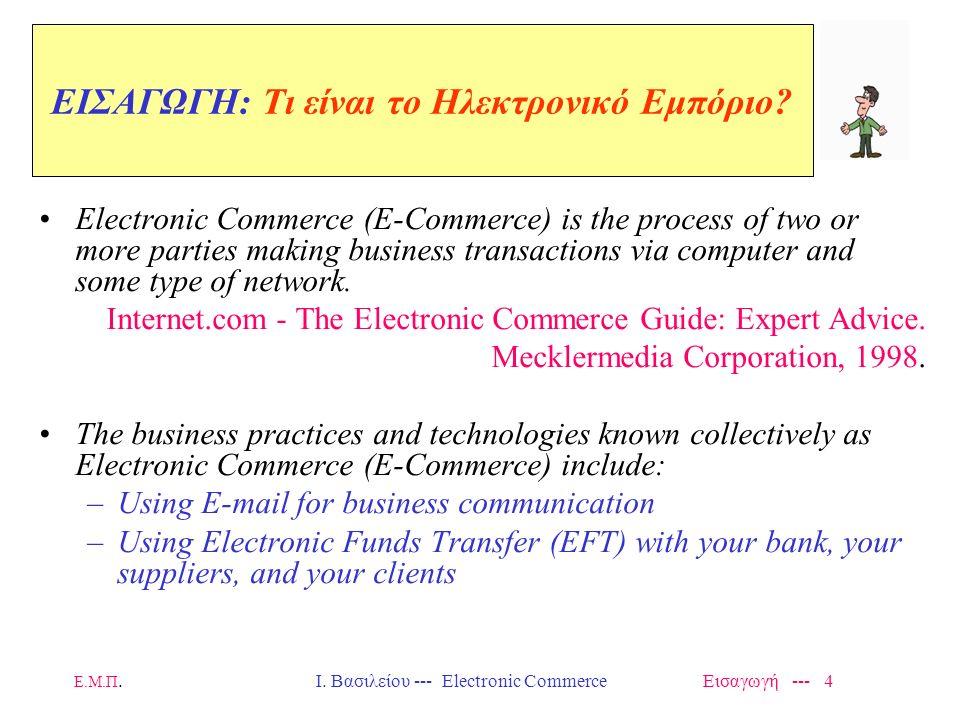 Ε.Μ.Π. Ι. Βασιλείου --- Electronic Commerce Εισαγωγή --- 3 Εισαγωγή στο Ηλεκτρονικό Εμπόριο Ορισμοί – Μορφές - Παραδείγματα