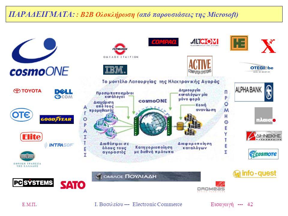 Ε.Μ.Π. Ι. Βασιλείου --- Electronic Commerce Εισαγωγή --- 41 ΠΑΡΑΔΕΙΓΜΑΤΑ: : B2B Ολοκλήρωση (από παρουσιάσεις της Microsoft)