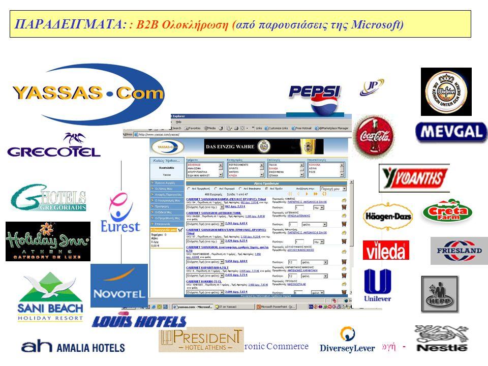 Ε.Μ.Π. Ι. Βασιλείου --- Electronic Commerce Εισαγωγή --- 42 ΠΑΡΑΔΕΙΓΜΑΤΑ: : B2B Ολοκλήρωση (από παρουσιάσεις της Microsoft)