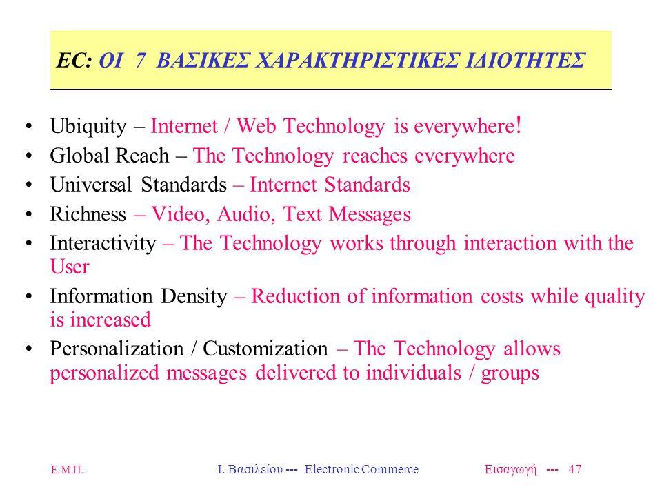 Ε.Μ.Π. Ι. Βασιλείου --- Electronic Commerce Εισαγωγή --- 46 Κίνητρα για Ηλεκτρονικό Εμπόριο Χαρακτηριστικά και Μοντέλα
