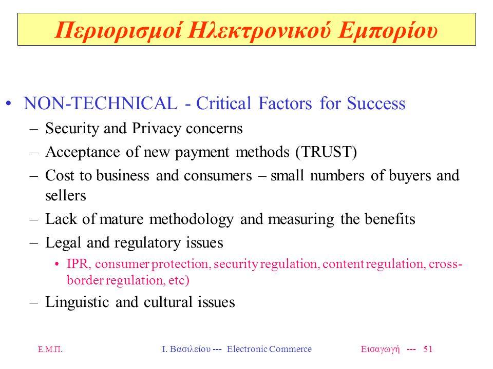 Στοιχεία κλειδιά για το EC Ασφαλείς πληρωμές Προστασία Αντιγράφων Πολυγλωσσισμός Εκπαίδευση Διαλειτουργικότητα/ Διασυνδεσιμότητα Νομικό και Οικονομικό