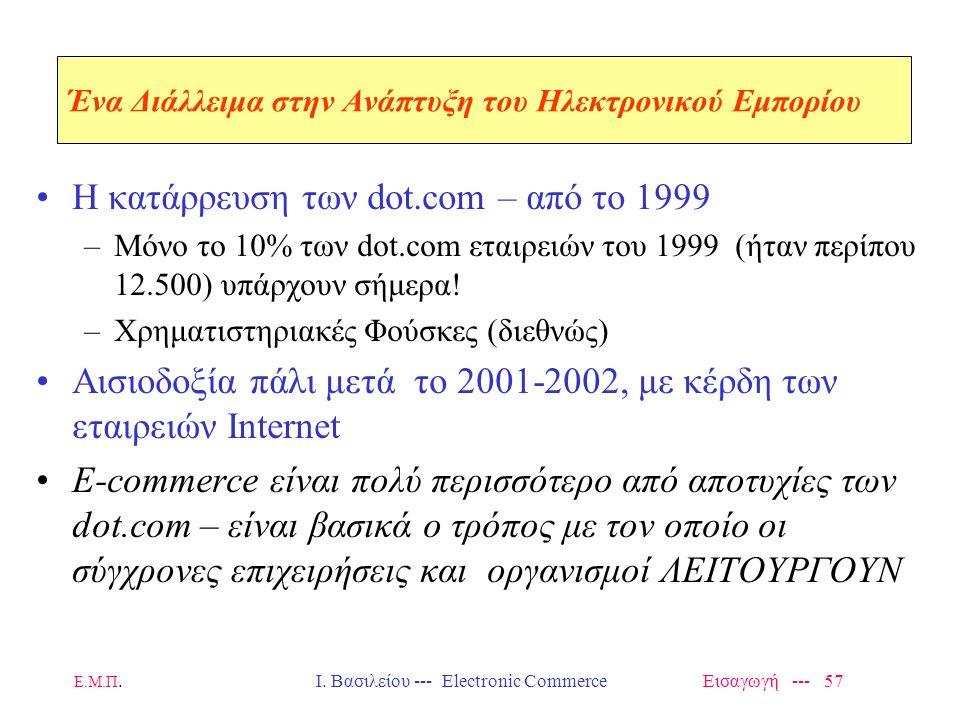 Ε.Μ.Π. Ι. Βασιλείου --- Electronic Commerce Εισαγωγή --- 56 Η Ανάπτυξη της Αγοράς Προοπτική και Εικόνα από το 1996 360 Billion** By 2000 32 Billion* N