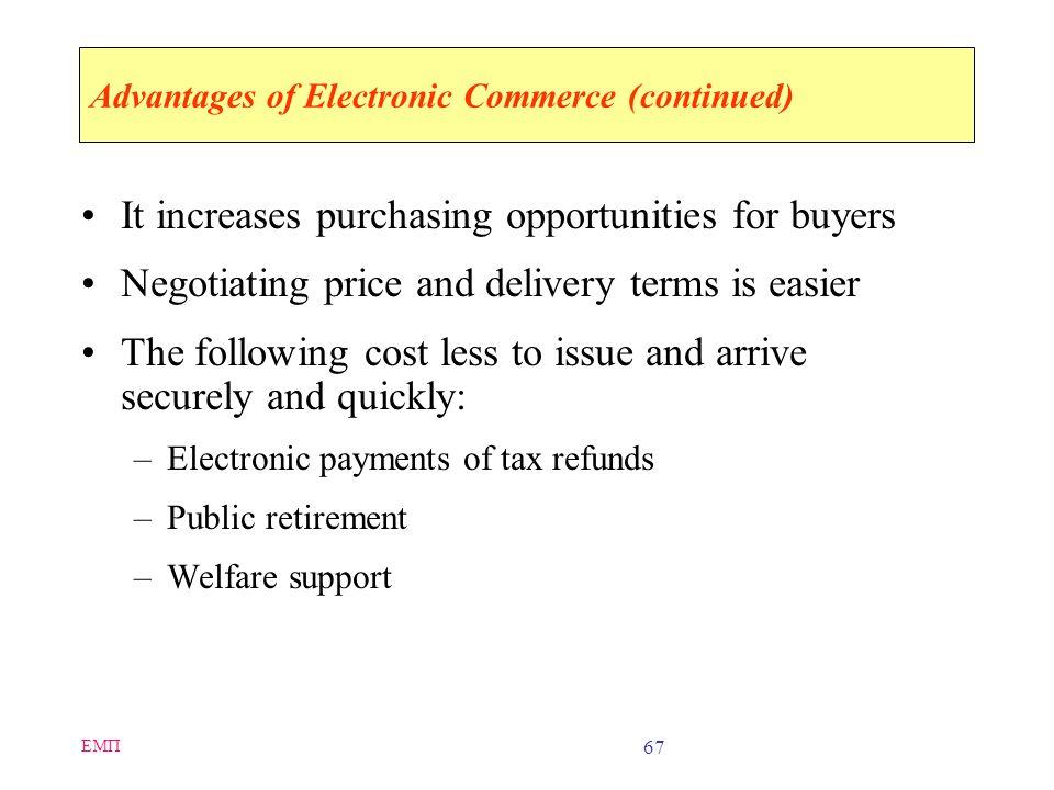 ΕΜΠ 66 Advantages of Electronic Commerce Electronic commerce can increase sales and decrease costs If advertising is done well on the Web, it can get
