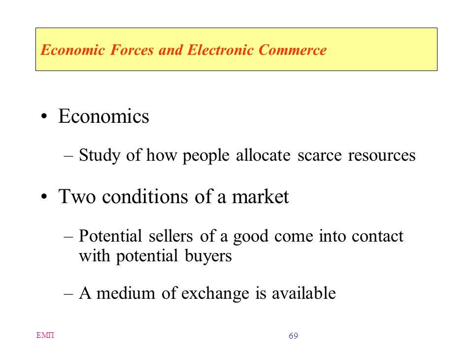 ΕΜΠ 68 Disadvantages of Electronic Commerce Perishable grocery products are much harder to sell online It is difficult to: –Calculate return on invest