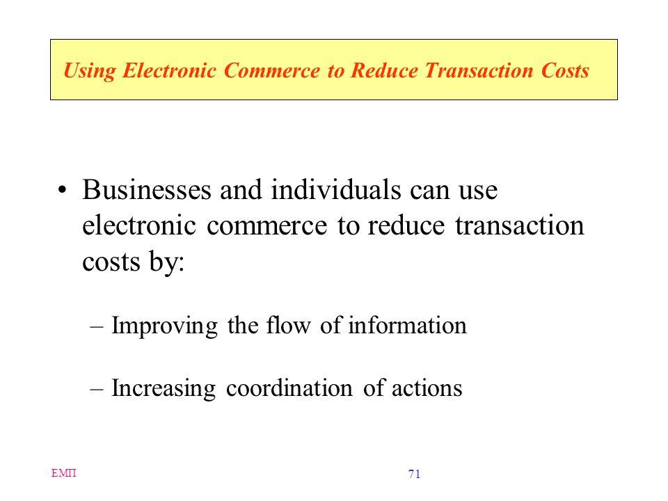ΕΜΠ 70 Transaction Costs Transaction costs are the total costs that a buyer and seller incur Significant components of transaction costs: –Cost of inf