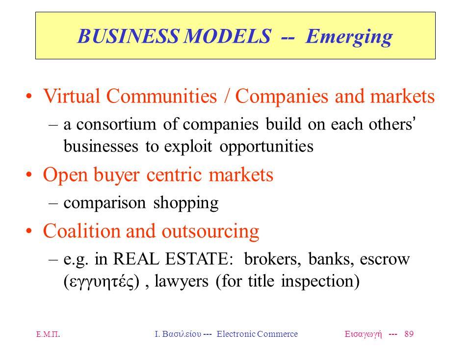 Ε.Μ.Π. Ι. Βασιλείου --- Electronic Commerce Εισαγωγή --- 88 Επιχειρηματικά Μοντέλα (Business Models) Many EC Business Models today are –An online vers