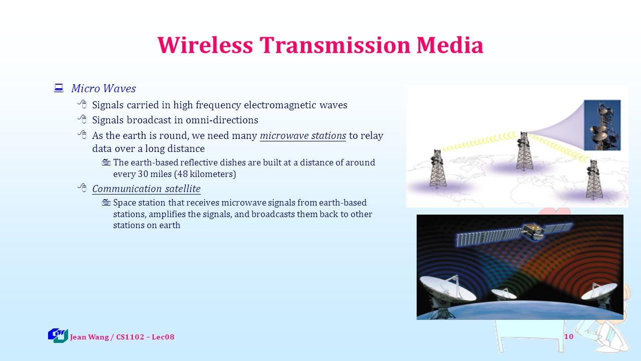 10 Wireless Transmission Media  Micro Waves  Signals carried in high frequency electromagnetic waves  Signals broadcast in omni-directions  As the earth is round, we need many microwave stations to relay data over a long distance  The earth-based reflective dishes are built at a distance of around every 30 miles (48 kilometers)  Communication satellite  Space station that receives microwave signals from earth-based stations, amplifies the signals, and broadcasts them back to other stations on earth Jean Wang / CS1102 – Lec08