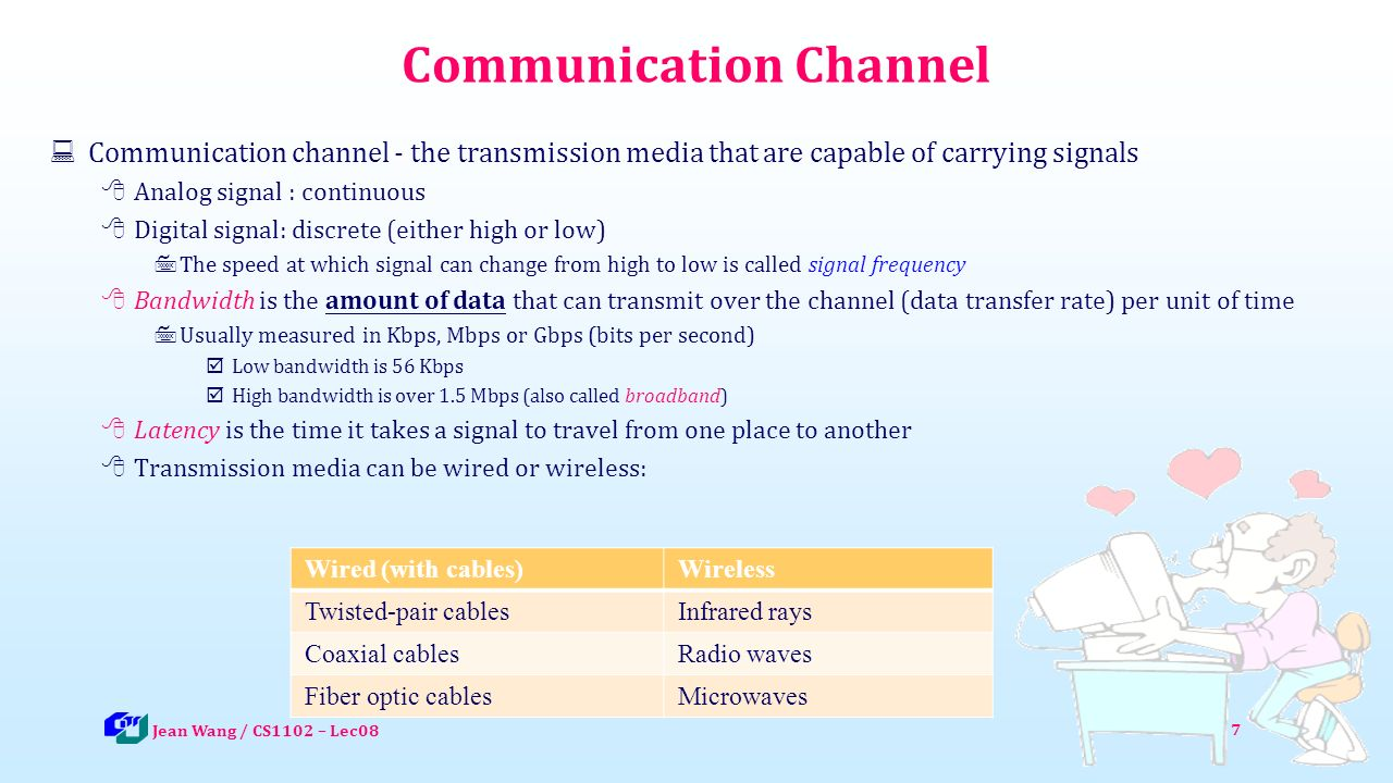 7 Communication Channel  Communication channel - the transmission media that are capable of carrying signals  Analog signal : continuous  Digital signal: discrete (either high or low)  The speed at which signal can change from high to low is called signal frequency  Bandwidth is the amount of data that can transmit over the channel (data transfer rate) per unit of time  Usually measured in Kbps, Mbps or Gbps (bits per second)  Low bandwidth is 56 Kbps  High bandwidth is over 1.5 Mbps (also called broadband)  Latency is the time it takes a signal to travel from one place to another  Transmission media can be wired or wireless: Jean Wang / CS1102 – Lec08 Wired (with cables)Wireless Twisted-pair cablesInfrared rays Coaxial cablesRadio waves Fiber optic cablesMicrowaves