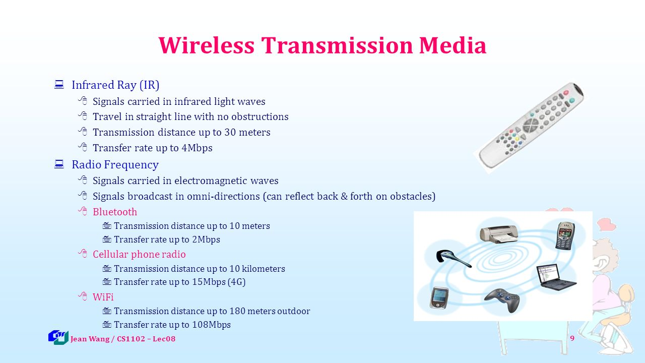 Wireless Transmission Media  Infrared Ray (IR)  Signals carried in infrared light waves  Travel in straight line with no obstructions  Transmission distance up to 30 meters  Transfer rate up to 4Mbps  Radio Frequency  Signals carried in electromagnetic waves  Signals broadcast in omni-directions (can reflect back & forth on obstacles)  Bluetooth  Transmission distance up to 10 meters  Transfer rate up to 2Mbps  Cellular phone radio  Transmission distance up to 10 kilometers  Transfer rate up to 15Mbps (4G)  WiFi  Transmission distance up to 180 meters outdoor  Transfer rate up to 108Mbps 9 Jean Wang / CS1102 – Lec08