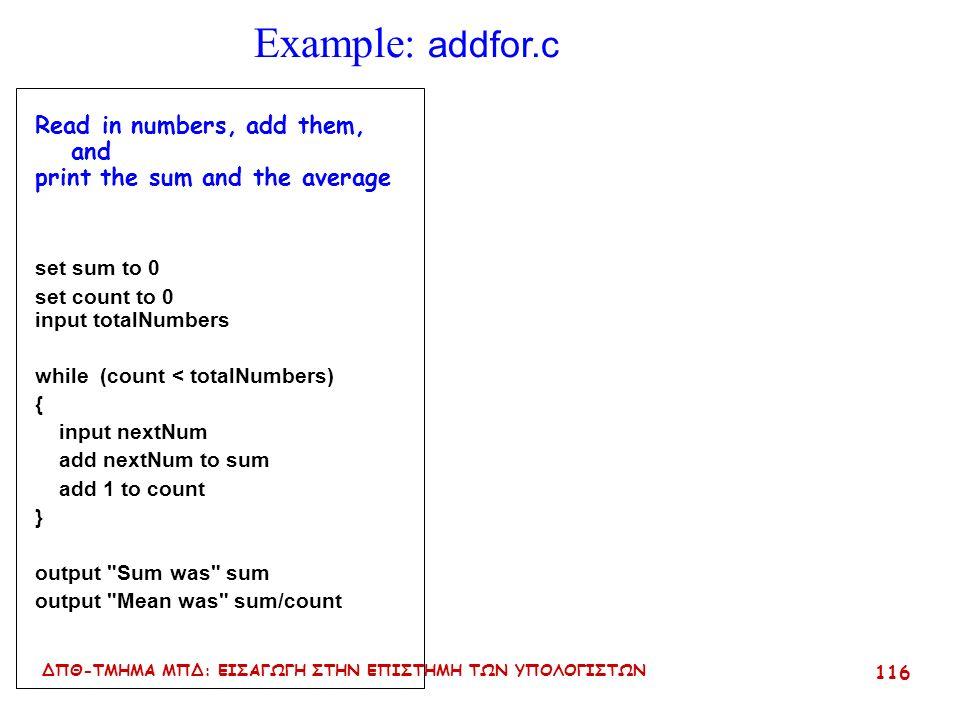 ΔΠΘ-ΤΜΗΜΑ ΜΠΔ: ΕΙΣΑΓΩΓΗ ΣΤΗΝ ΕΠΙΣΤΗΜΗ ΤΩΝ ΥΠΟΛΟΓΙΣΤΩΝ 115 Η εντολή for Δημιουργεί ένα βρόγχο που επιτρέπει τον καθορισμό των αρχικών και τελικών ορίων καθώς και τον έλεγχο της επανάληψης Σύνταξη : for ( initialization ; condition ; update ) { block εντολών } Προσοχή.