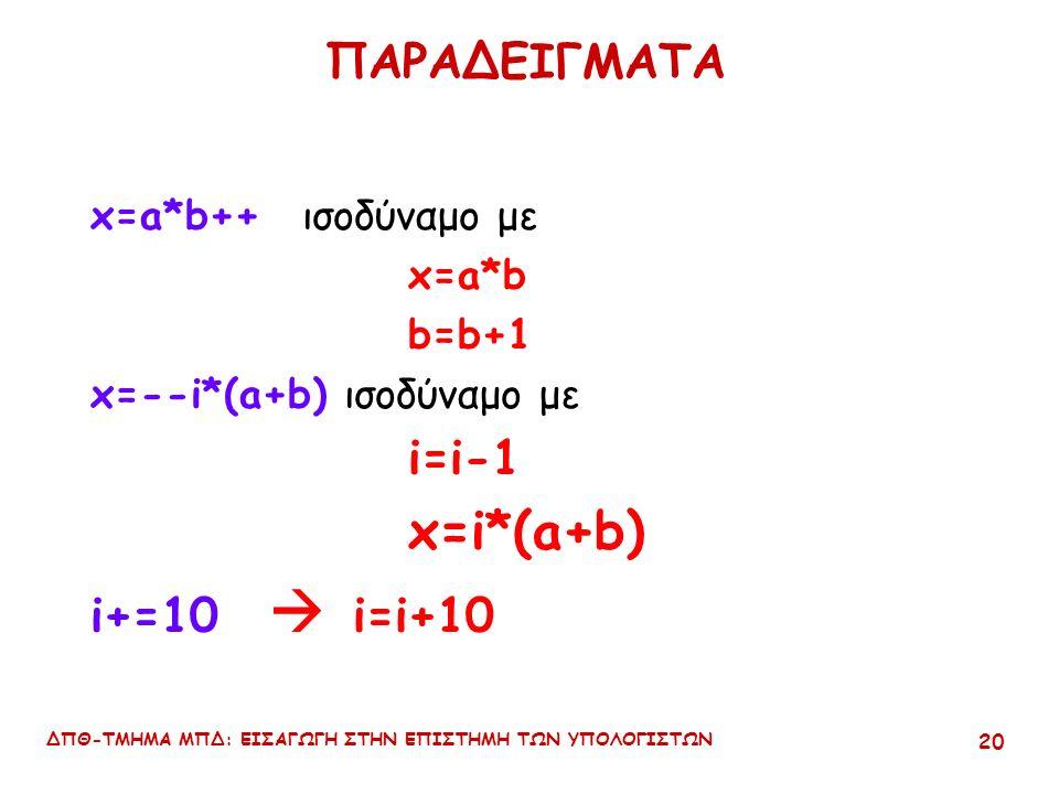 ΔΠΘ-ΤΜΗΜΑ ΜΠΔ: ΕΙΣΑΓΩΓΗ ΣΤΗΝ ΕΠΙΣΤΗΜΗ ΤΩΝ ΥΠΟΛΟΓΙΣΤΩΝ 19 Διάκριση των τελεστών ++ και -- Μορφές ++x, --y : prefix mode –η αύξηση ή η μείωση των τιμών των μεταβλητών γίνεται πριν αυτές χρησιμοποιηθούν.