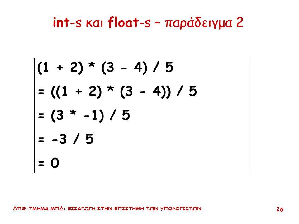 ΔΠΘ-ΤΜΗΜΑ ΜΠΔ: ΕΙΣΑΓΩΓΗ ΣΤΗΝ ΕΠΙΣΤΗΜΗ ΤΩΝ ΥΠΟΛΟΓΙΣΤΩΝ 25 int-s και float-s float : είναι ο τύπος που υπερισχύει παράδειγμα: 1 + 2 * 3 - 4.0 / 5 = 1 + (2 * 3) - (4.0 / 5) = 1 + 6 - 0.8 = 6.2