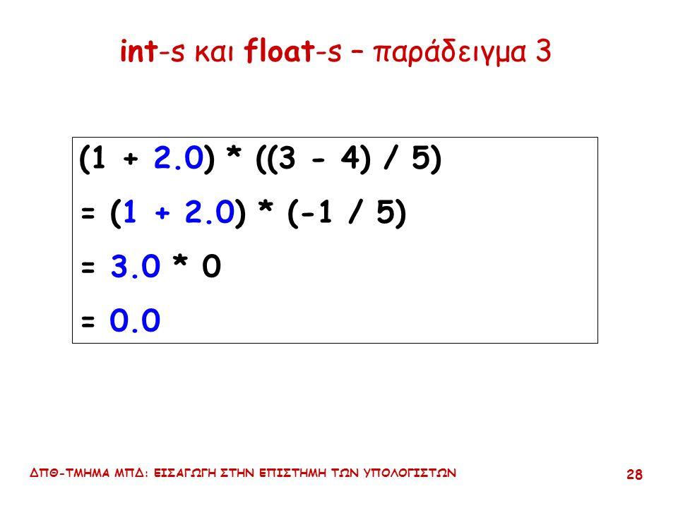 ΔΠΘ-ΤΜΗΜΑ ΜΠΔ: ΕΙΣΑΓΩΓΗ ΣΤΗΝ ΕΠΙΣΤΗΜΗ ΤΩΝ ΥΠΟΛΟΓΙΣΤΩΝ 27 int-s και float-s – παράδειγμα 2 (συνέχεια) (1 + 2.0) * (3 - 4) / 5 = ((1 + 2.0) * (3 - 4)) / 5 = (3.0 * -1) / 5 = -3.0 / 5 = -0.6