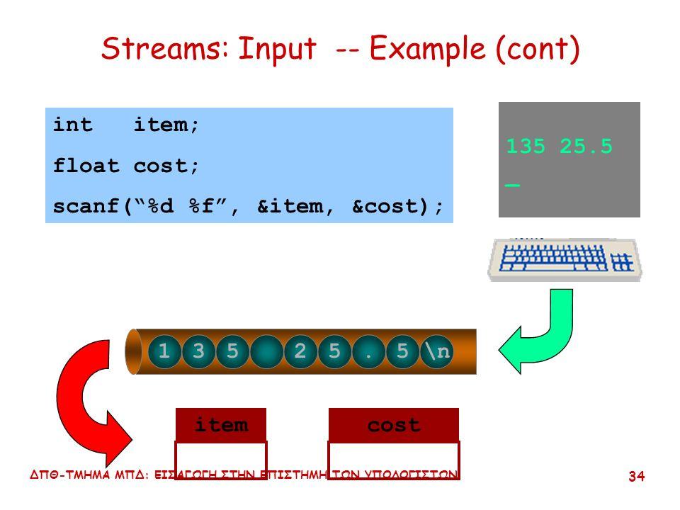 ΔΠΘ-ΤΜΗΜΑ ΜΠΔ: ΕΙΣΑΓΩΓΗ ΣΤΗΝ ΕΠΙΣΤΗΜΗ ΤΩΝ ΥΠΟΛΟΓΙΣΤΩΝ 33 Streams: Input -- Example 135 25.5 _ 135 25.5\n int item; float cost; scanf( %d %f , &item, &cost); input buffer