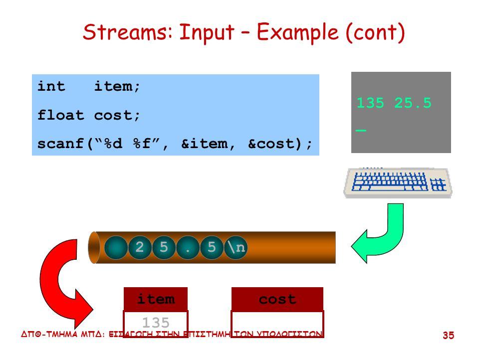 ΔΠΘ-ΤΜΗΜΑ ΜΠΔ: ΕΙΣΑΓΩΓΗ ΣΤΗΝ ΕΠΙΣΤΗΜΗ ΤΩΝ ΥΠΟΛΟΓΙΣΤΩΝ 34 Streams: Input -- Example (cont) 135 25.5 _ 135 25.5\n int item; float cost; scanf( %d %f , &item, &cost); itemcost