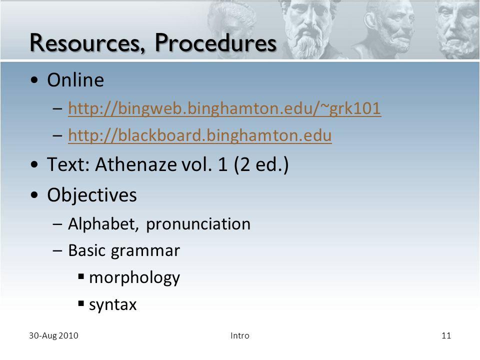 Resources, Procedures Online –http://bingweb.binghamton.edu/~grk101http://bingweb.binghamton.edu/~grk101 –http://blackboard.binghamton.eduhttp://blackboard.binghamton.edu Text: Athenaze vol.