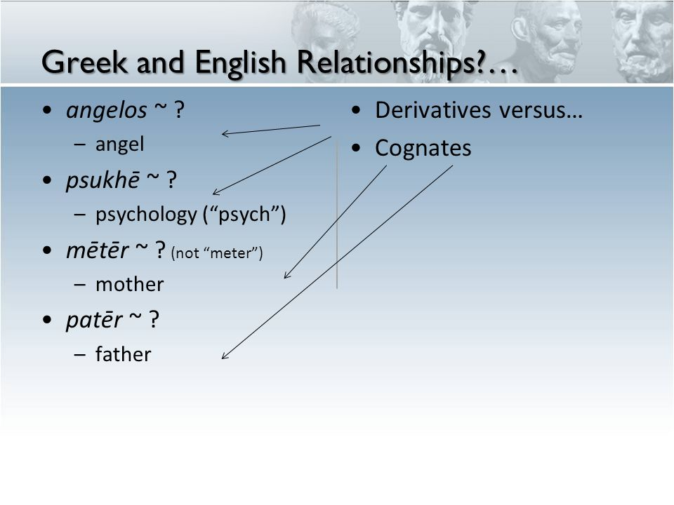 Greek and English Relationships … angelos ~ . –angel psukhē ~ .
