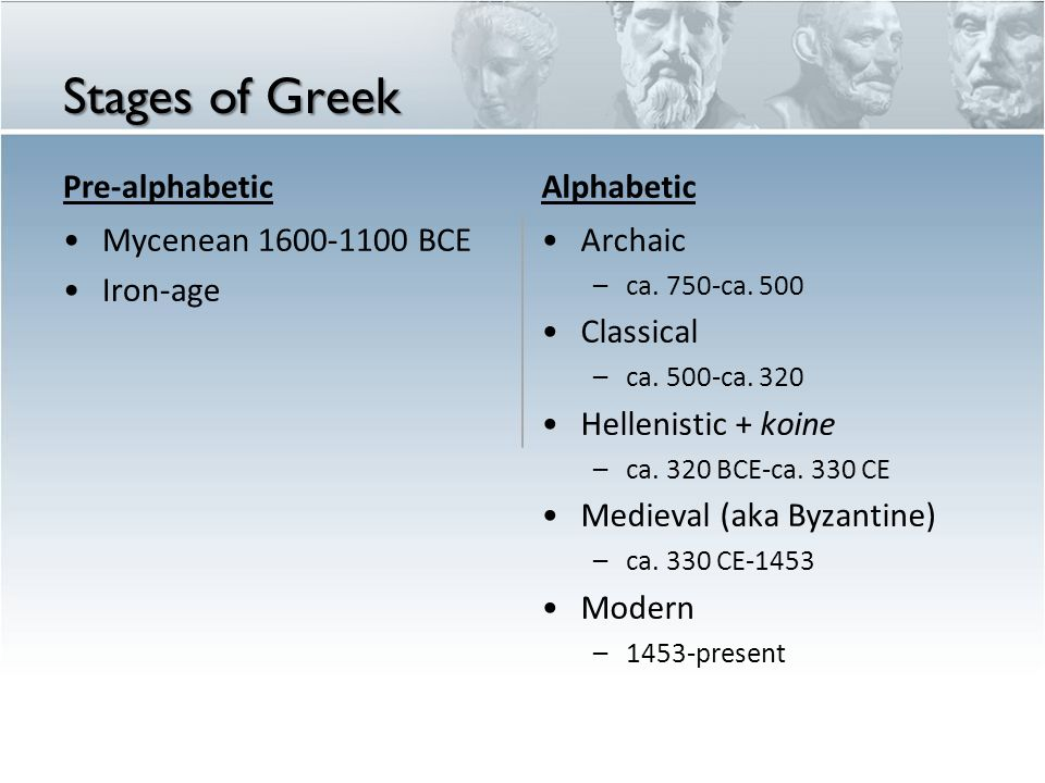 Stages of Greek Pre-alphabetic Mycenean 1600-1100 BCE Iron-age Alphabetic Archaic – ca. 750-ca. 500 Classical – ca. 500-ca. 320 Hellenistic + koine –