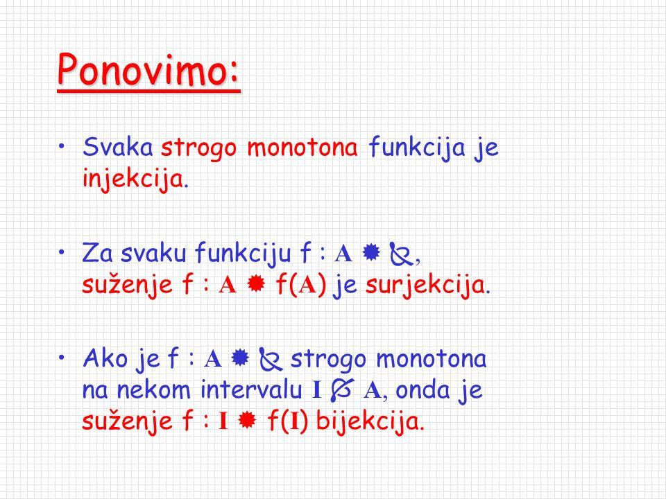 Ponovimo: Svaka strogo monotona funkcija je injekcija.