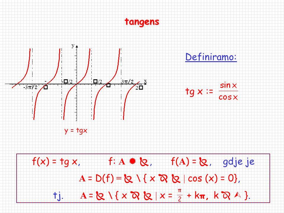 Trigonometrijske funkcije f(x) = sinx, f:    f(  ) = [-1,1] f(x) = cosx, f:    f(  ) = [-1,1] sinus kosinus 1  22 -- 1  /2 22 -  /2 x