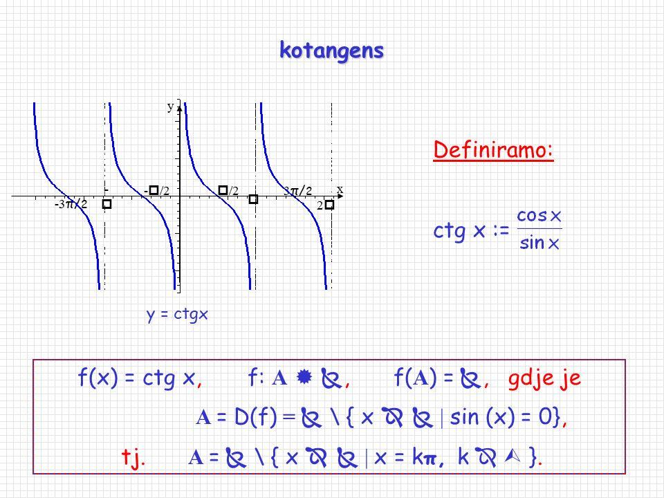 tangens  --  /2 22 -  /2 x y 3π/23π/2 -3 π/ 2 y = tgx Definiramo: tg x := f(x) = tg x, f: A  , f( A ) = , gdje je A = D(f) =  \ { x   | c