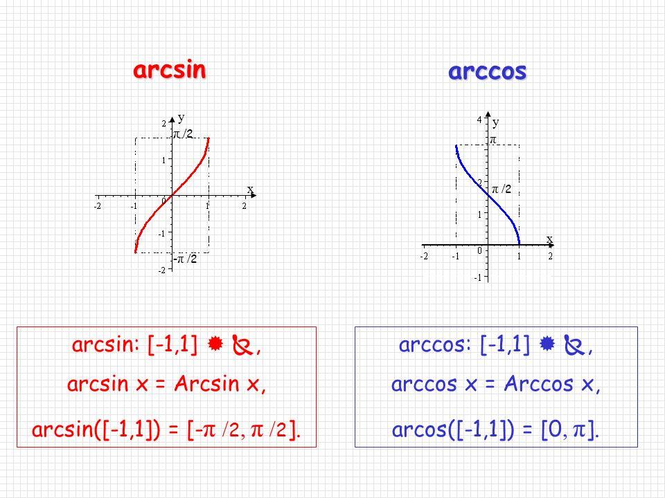Neka je Cos: [0, π ]  [-1,1] suženje funkcije cos. Dakle, za svaki x є [0, π ], vrijedi cos x = Cos x. Funkcija Cos je bijekcija. Definirajmo: Arccos