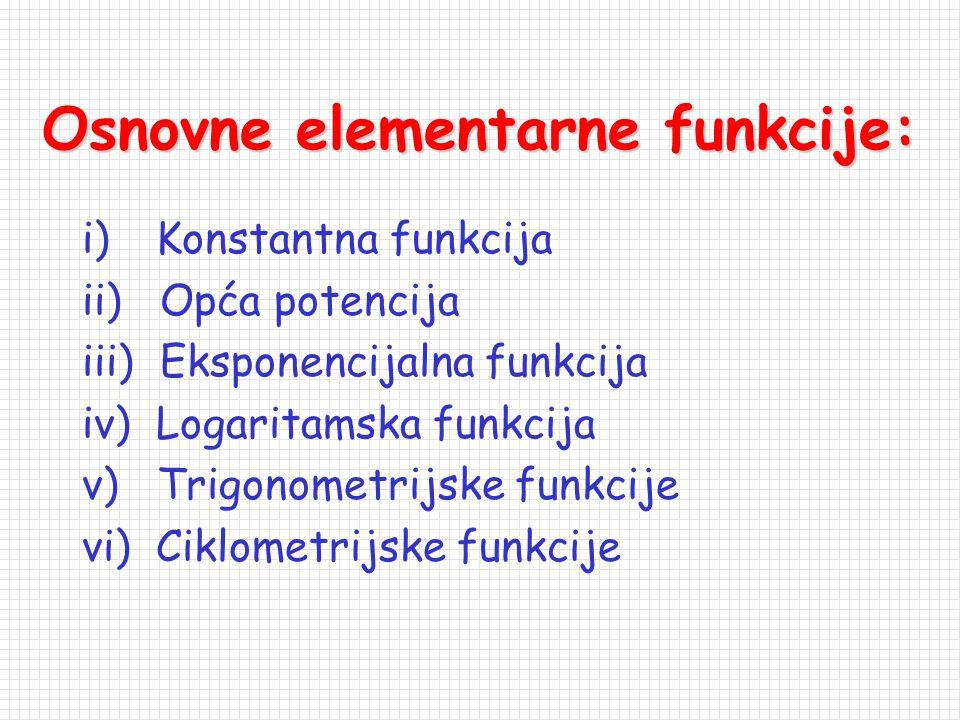 Osnovne elementarne funkcije: i) Konstantna funkcija ii) Opća potencija iii) Eksponencijalna funkcija iv) Logaritamska funkcija v) Trigonometrijske funkcije vi) Ciklometrijske funkcije